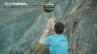 Australian sets world record with incredible basketball shot off dam