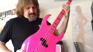 dean custom zone bass guitar neon pink review