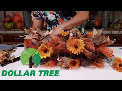 How To Make A Fall Centerpiece With Dollar Tree Items (And Deco Mesh 2019 )