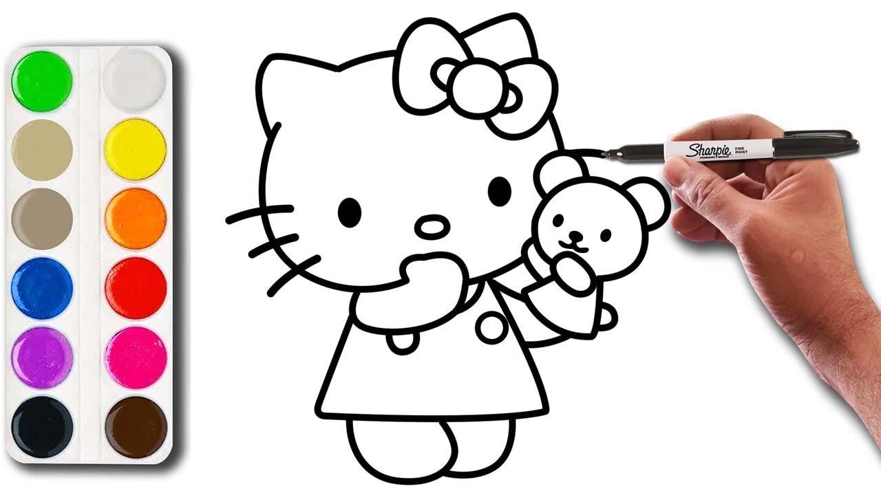 تعليم الرسم للاطفال رسم و تلوين القطة Youtube