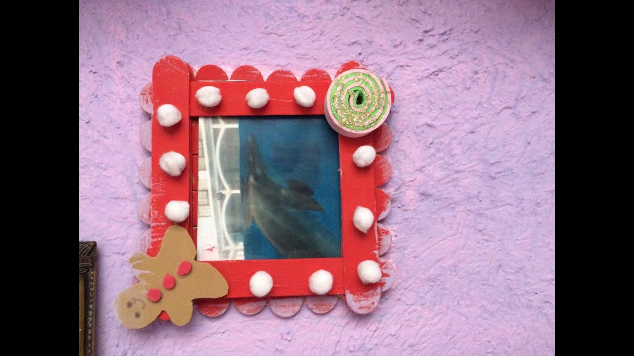 Porta retrato de palitos de paleta decora tu hogar youtube - Manualidades con palitos ...