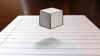 Make 3d cube on paper | floating cube in air very easy trick
