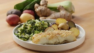 Miso Butter-Seared Sea Bass with Roasted Vegetables