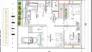 30X40 TWO BHK HOUSE PLAN WITH INSIDE STAIRCASE