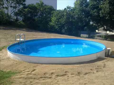 swimming pool rund stahlwand poolbau mit hindernissen pool construction with obstacles