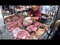 Argentina Street Food. Huge Blocks of Meat on Fire