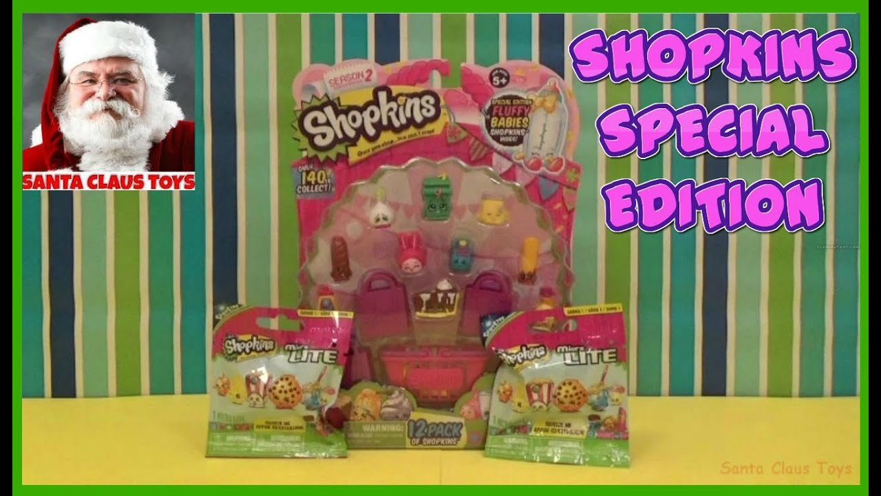 SANTA CLAUS: SHOPKINS 12 Pack and MicroLite SURPRISE TOYS unboxing ...