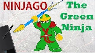 LEGO Ninjago: Masters of Spinjitzu - The Green Ninja - Drawing - How to draw LEGO Ninjago