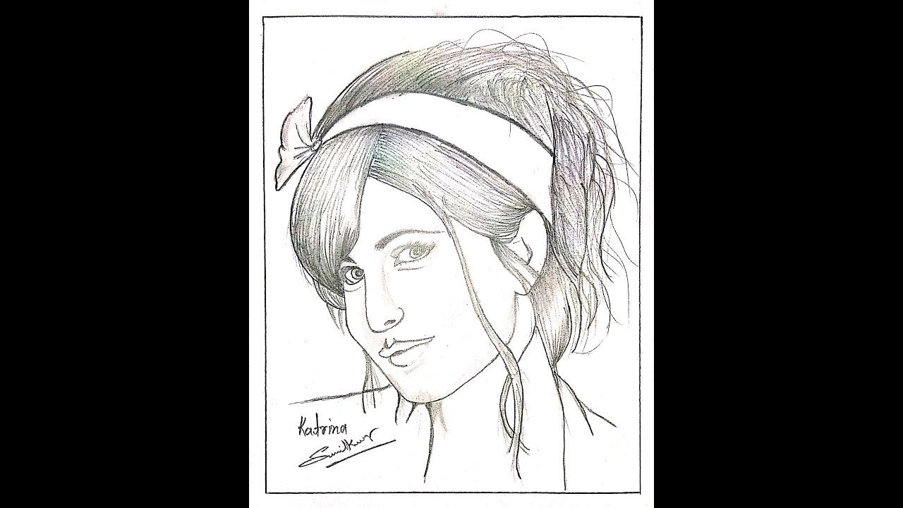 Pencil sketch Drawing of Katrina kaif || Face Drawing ...