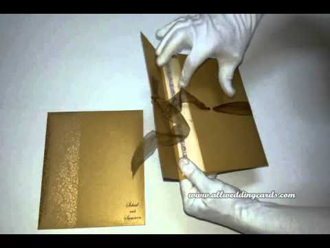 W-4520, Rust Gold Color, Shimmer Paper, Hindu Invitations, Unique handmade Cards