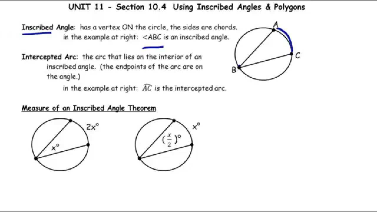 Worksheets Inscribed Angles Worksheet unit 12 day 2 using inscribed angles polygons youtube polygons