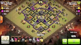 2 Clash of Clans, globos y montas, 3* TH9 VS TH9