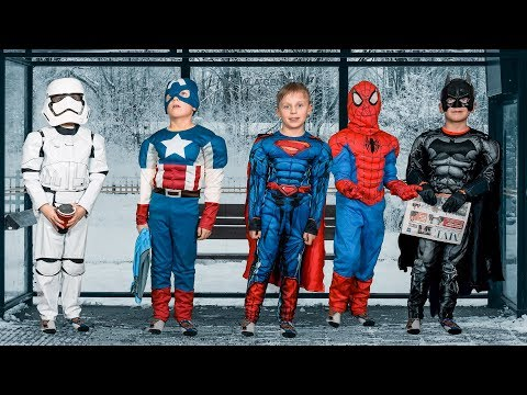 Superheroes at the Bus Stop: Spiderman, Batman, Superman and Captain America