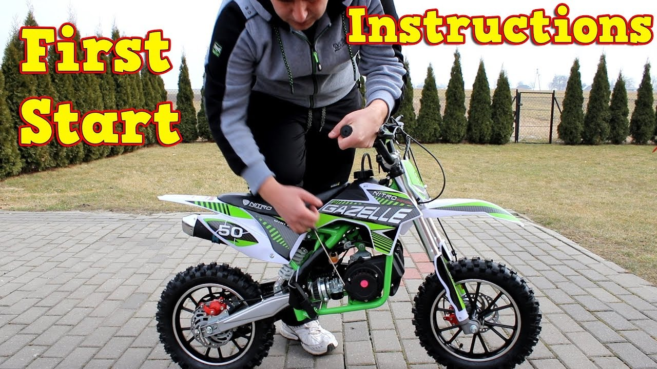 dirt bike 50cc first start instructions gazelle mini cross from nitro motors youtube