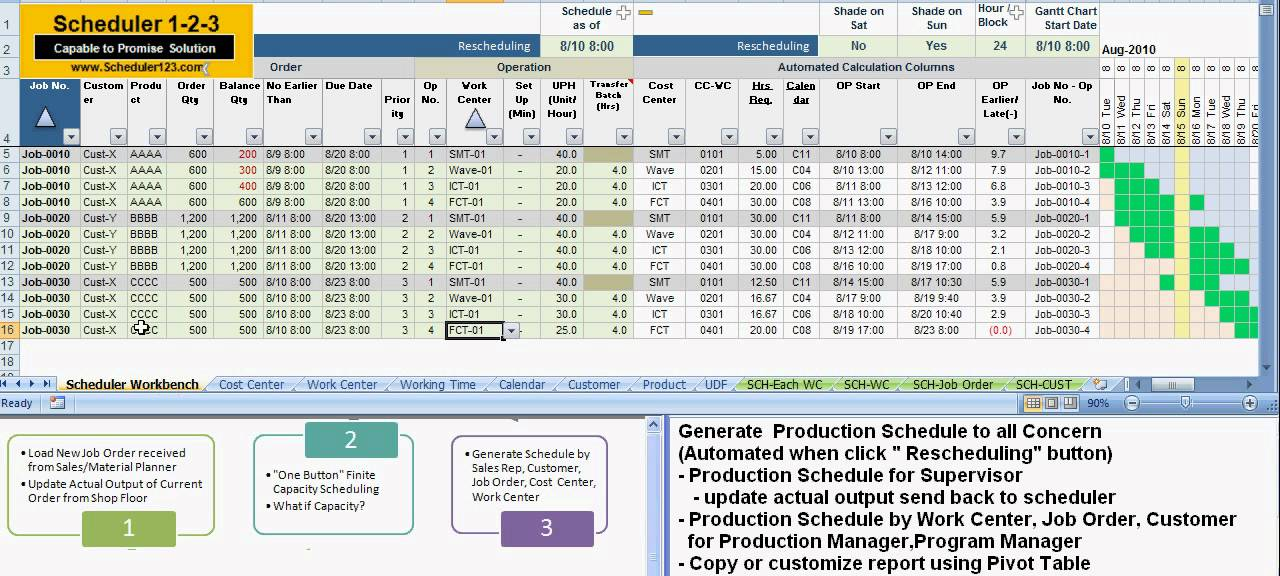 production schedule excel