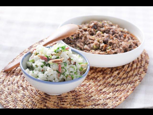 【楊桃美食網-3分鐘學做菜】一鍋兩菜 上海菜飯+梅菜蒸肉餅