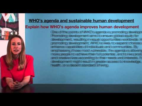 VCE HHD - WHO's agenda and sustainable human development