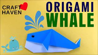 How To Make Cute and Easy Origami Whale - DIY Easy Origami for Beginners -Origami Animal Craft Haven