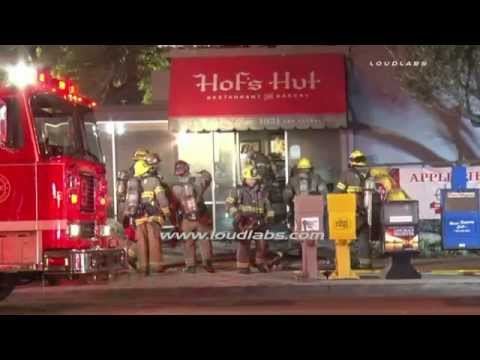 Hof's Hut Catches Fire Twice / Long Beach   RAW FOOTAGE