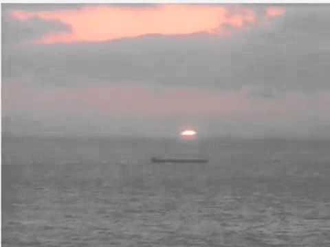 ライブカメラで録画。白浜温泉三段壁の夕陽10倍速