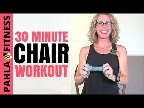 30 Minute SEATED Workout | Full Body CHAIR Cardio + Strength with DUMBBELLS