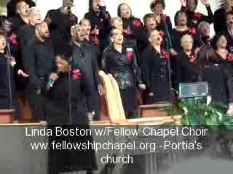Linda Boston sings at Fellowship Chapel