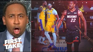 "FIRST TAKE | Stephen A. ""WOW"" Heat BEAT Lakers GM3, Butler outlasted LeBron with 40-Pt Triple-Double"