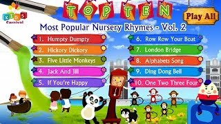Top Ten Most Popular Nursery Rhymes Jukebox Vol. 2 with Lyrics (Subtitles) and Action