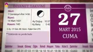 27 Mart 2015 Cuma Günü Diyanet Takvimi - TRT DİYANET 2017 Video