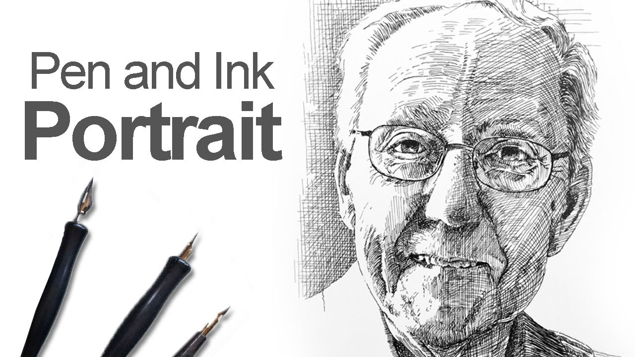 Pen and ink portrait time lapse youtube ccuart Image collections