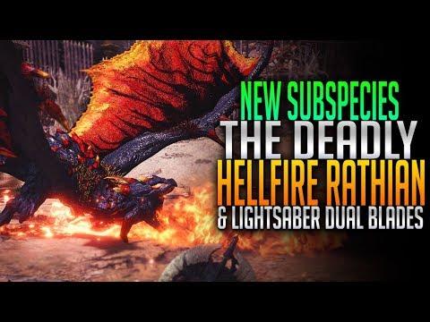 NEW Subspecies! Hellfire Rathian! Light Saber Dual Blades! Monster Hunter World PC Mods thumbnail