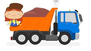 Un camión de la basura de dibujos animados. Los vehículos de construcción con el dr. McWheelie. Una familia de dibujos animados.