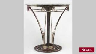 Antique French Art Deco round wrought iron end table with