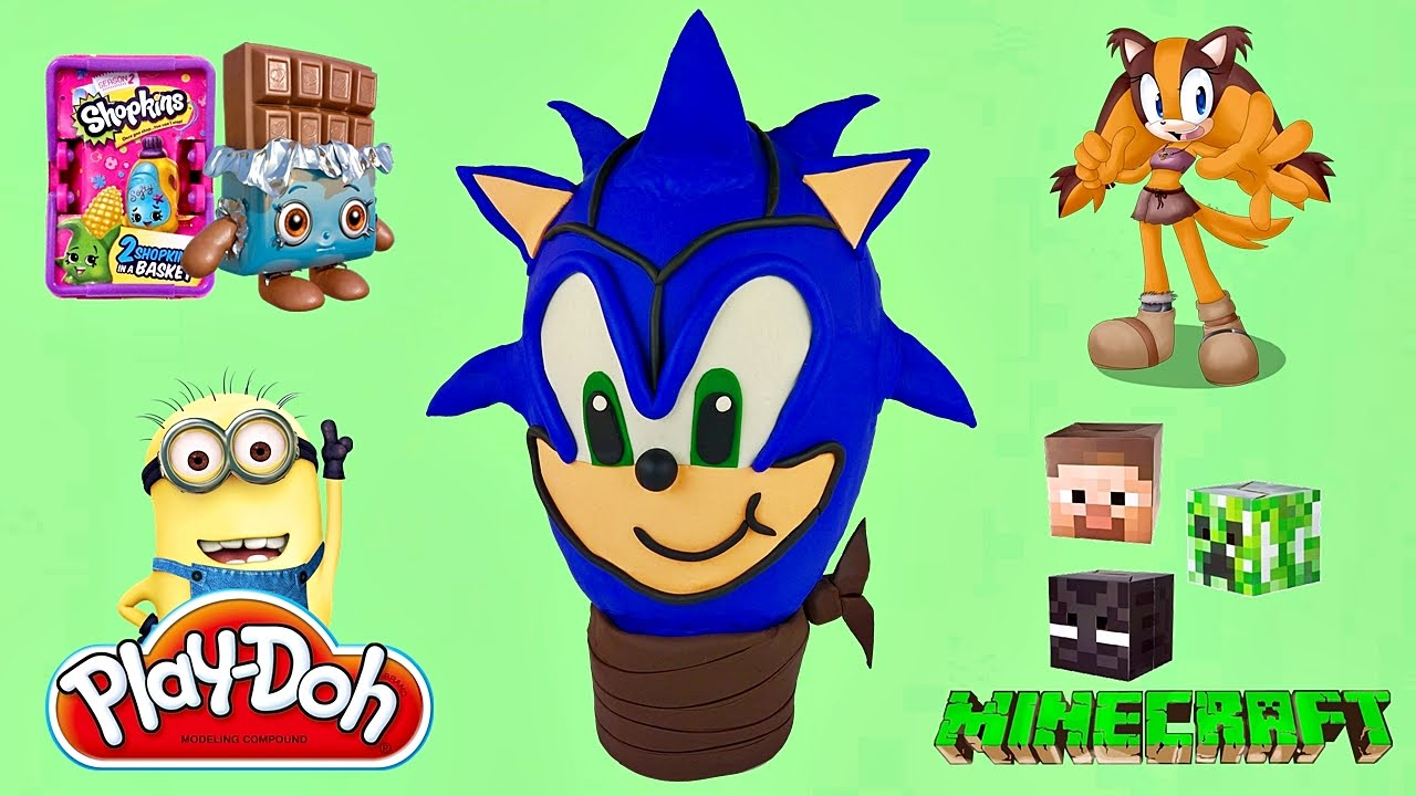 Sonic The Hedgehog Giant Play Doh Surprise Eggs Compilation ...