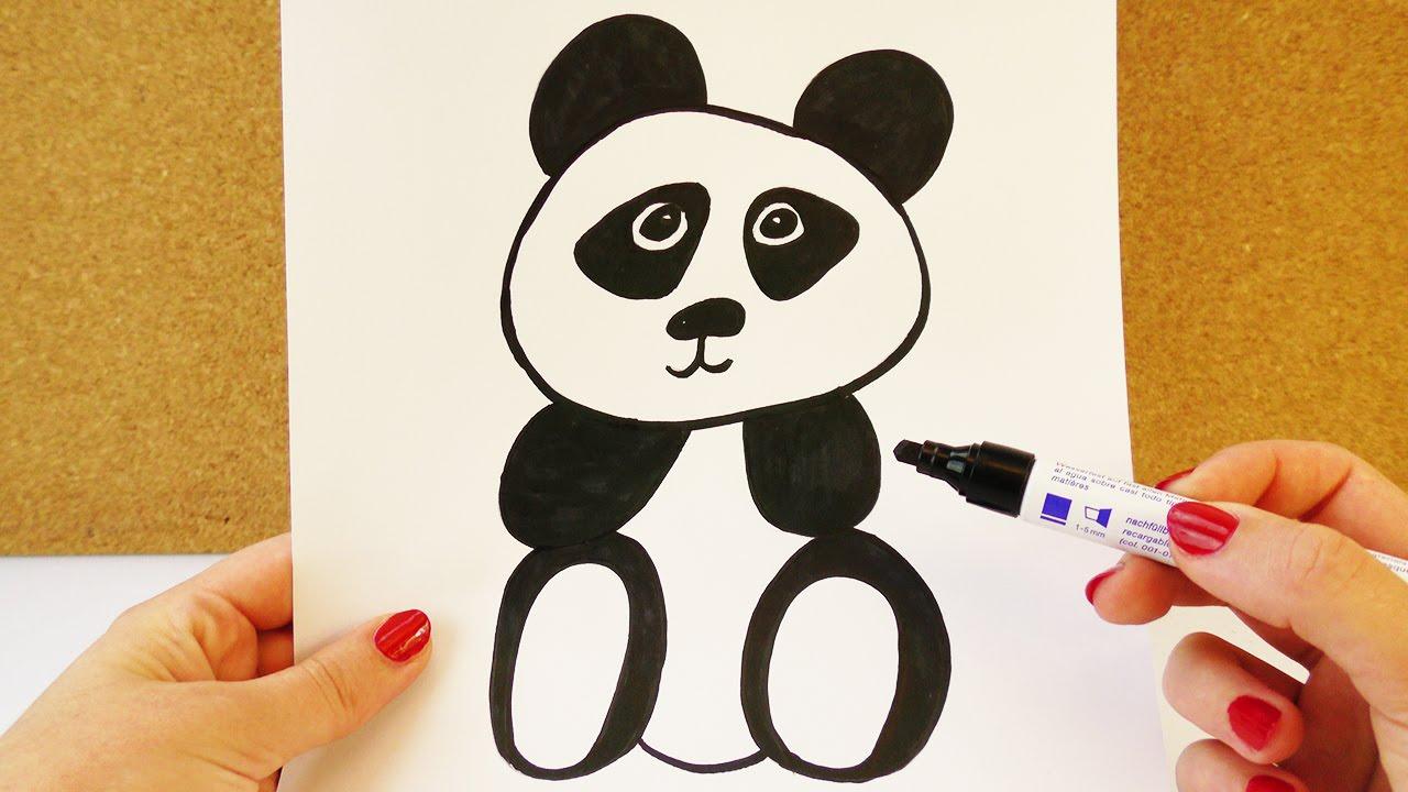 wie zeichnet man einen panda niedlicher pandab r zum nachmalen anleitung zum malen youtube. Black Bedroom Furniture Sets. Home Design Ideas