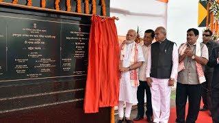 PM Modi unveiling the Plaque to mark Dedication to the Nation Dhola - Sadia Bridge | PMO