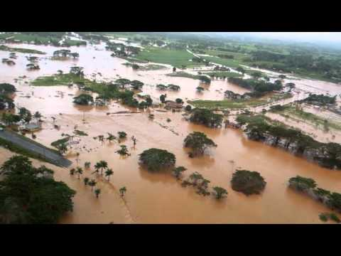 Helicopter Flight in Fiji over Flooded Land