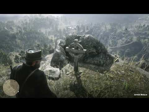 Red Dead Redemption 2 - John Visits Arthur's Grave & Annoys Mediating Monk (Easter Egg)