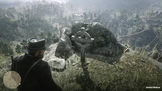 Red Dead Redemption 2 - John Visits Arthur's Grave & Annoys Mediating Monk (Easter Egg)