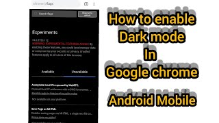 Asus Zenfone max pro m1 and m2, how to enable Google chrome dark mode