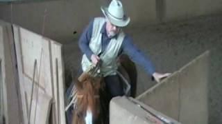 J-P Goetz sort de l' entrainement avec son cheval Runner Western