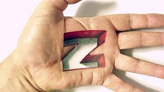 How to Draw Letter Z Hole in Hand - 3D Trick Art on Hand - Poendrawing