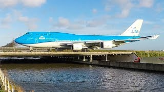 10 BIG PLANES crossing a RIVER - BOEING 747, Airbus A330 using a BRIDGE at Amsterdam Schiphol (4K)