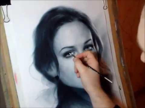 Рисование портрета в технике сухая кисть. - YouTube