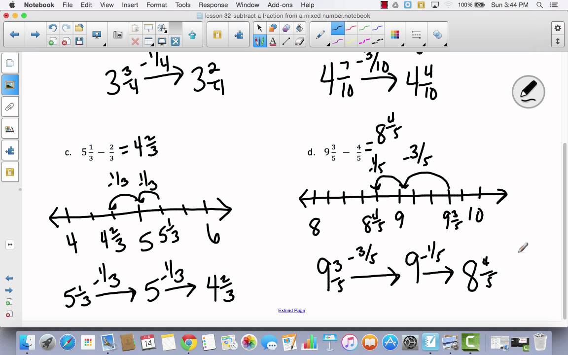 Lesson 32 subtract a fraction from a mixed number