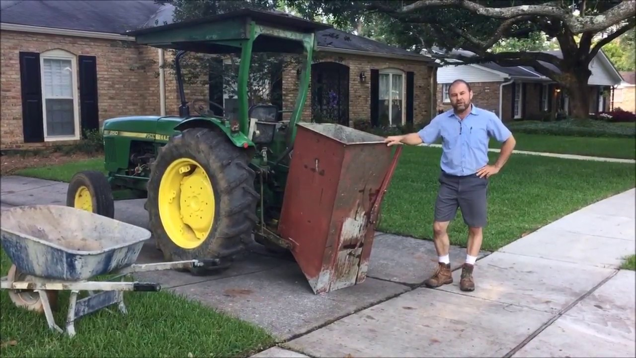 Tractor hitch concrete carrier. Home made attachment to carry concrete in back yards