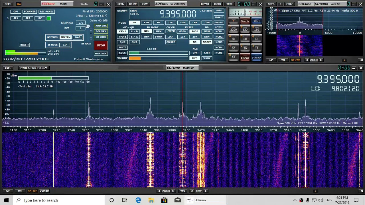 Voice of the report of the Week VORW 9395 kHz Shortwave Sdrplay RSP1A W6LVP  loop antenna