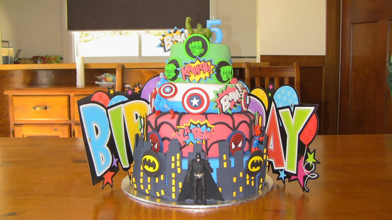 Best Superhero Birthday Cake Marvel Avengers with Hulk Spiderman