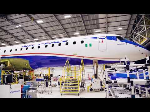 Empennage and wings join Air Peaces' first #E2 fuselage