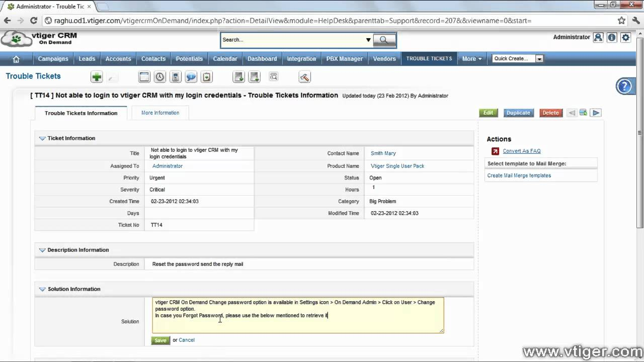 vtiger crm working with trouble ticket case management youtube